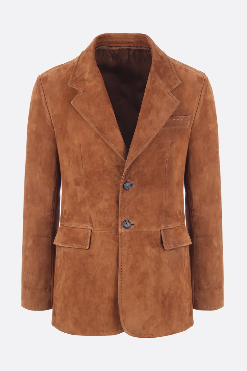 PRADA: suede single-breasted jacket Color Brown_1