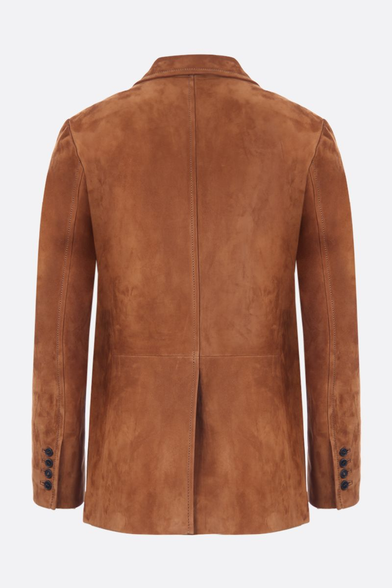 PRADA: suede single-breasted jacket Color Brown_2
