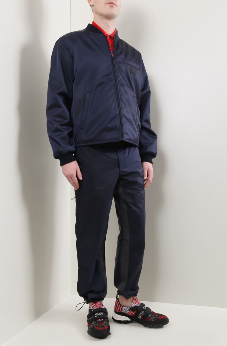 PRADA: technical fabric joggers with contrasting bands Color Blue_2