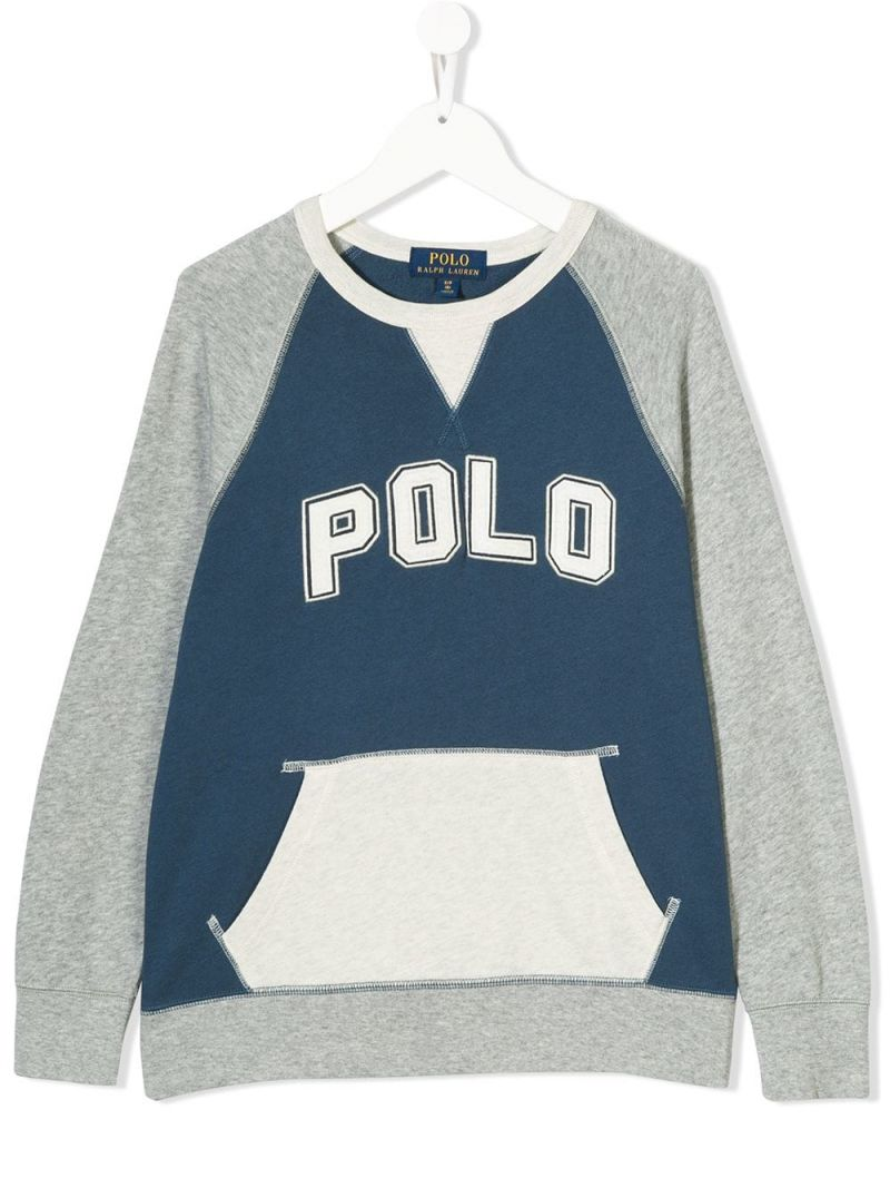 RALPH LAUREN KIDS: Polo embroidered jersey sweatshirt Color Blue_1