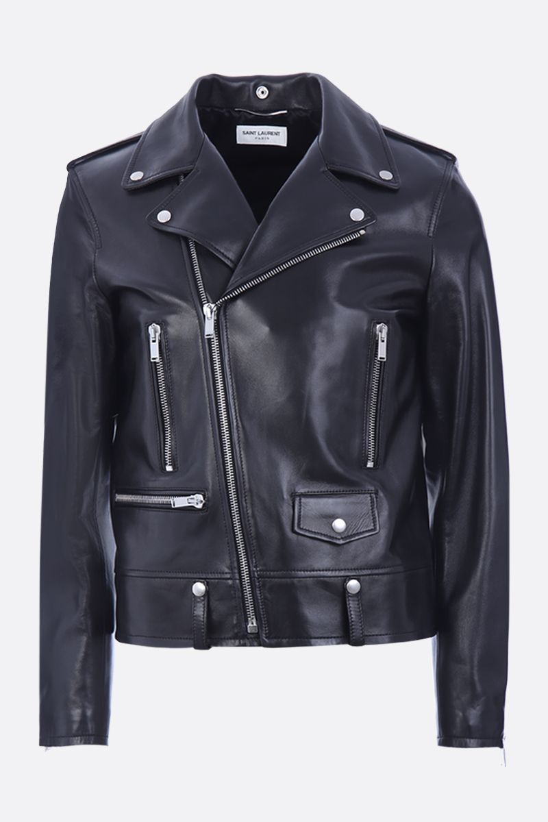 SAINT LAURENT: soft nappa biker jacket Color Black_1