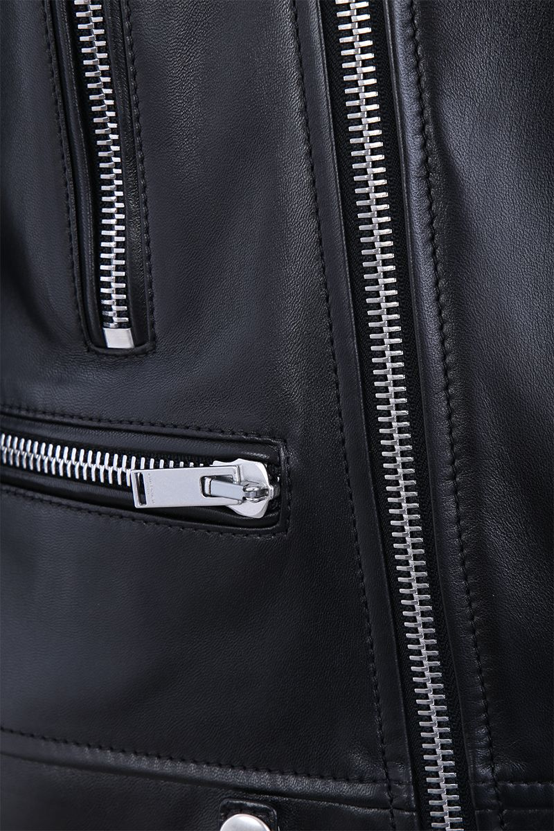 SAINT LAURENT: soft nappa biker jacket Color Black_3