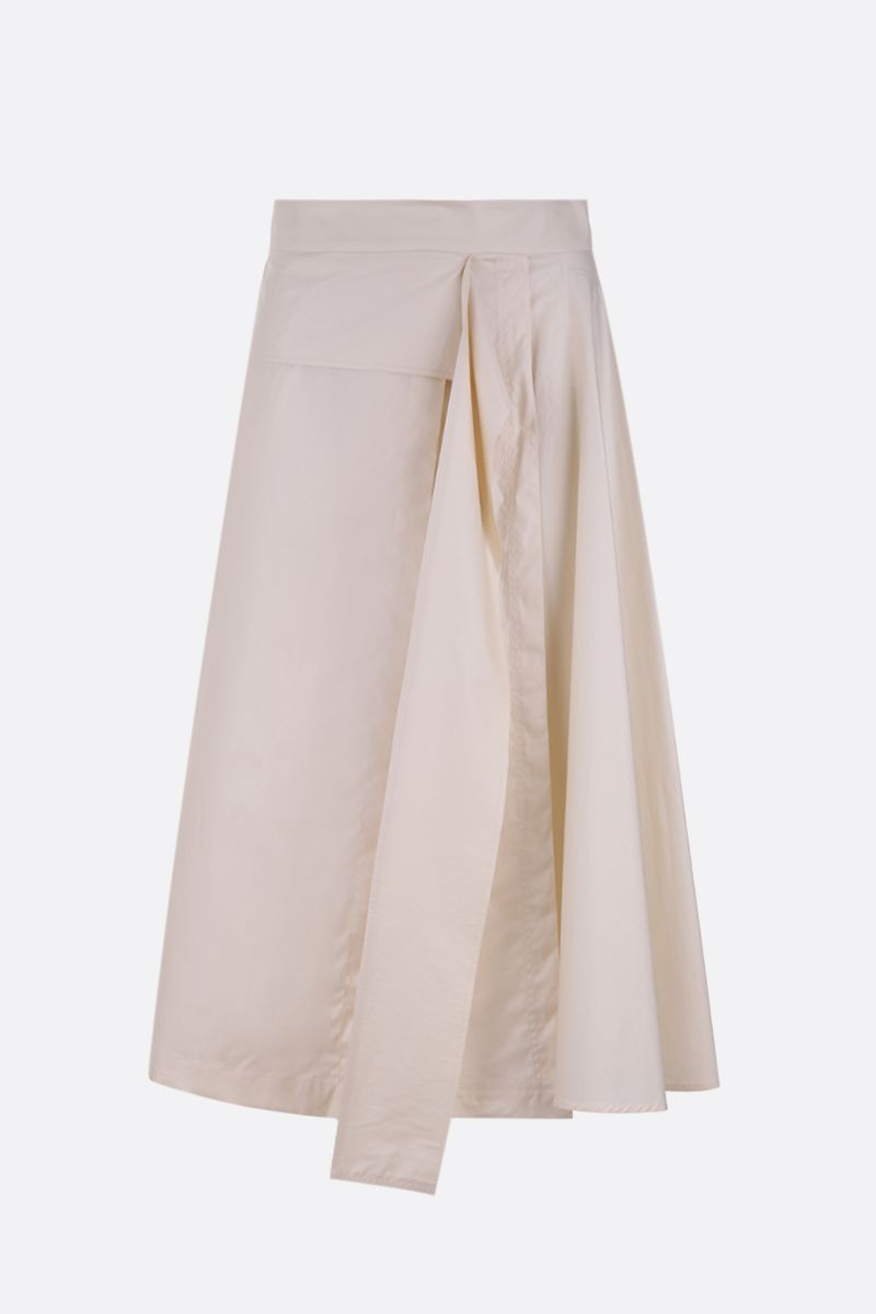 SPORTMAX: Catullo poplin midi skirt Color Neutral_1