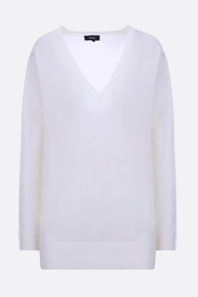 THEORY: merino wool pullover Color White_1