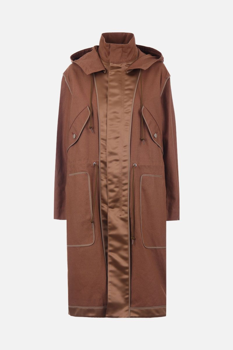 SUEUNDERCOVER: canvas parka with satin inserts Color Neutral_1