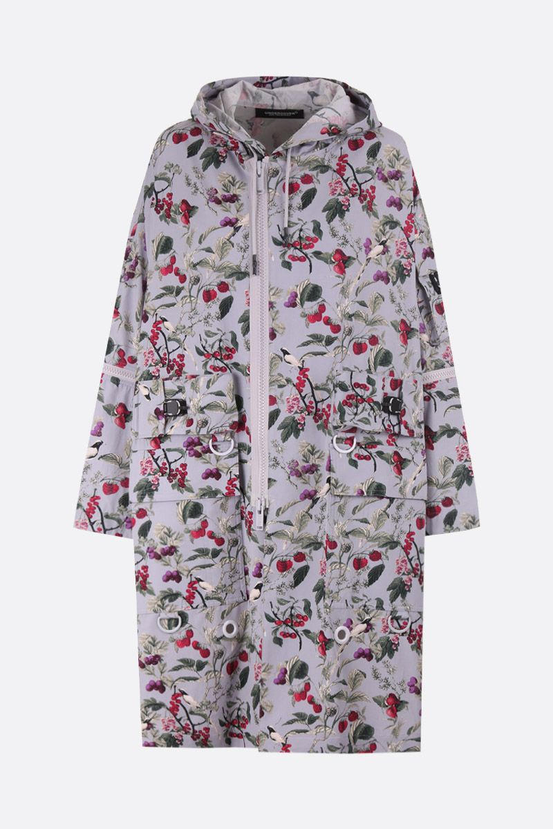 UNDERCOVER: red fruits print cotton blend parka Color Grey_1