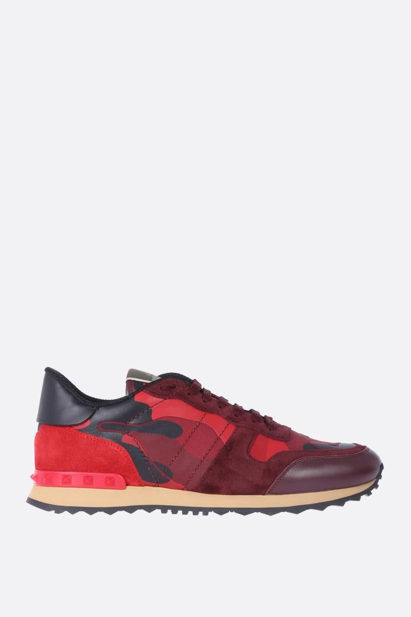 VALENTINO GARAVANI: Rockrunner Camouflage fabric and nappa sneakers Color Red_1