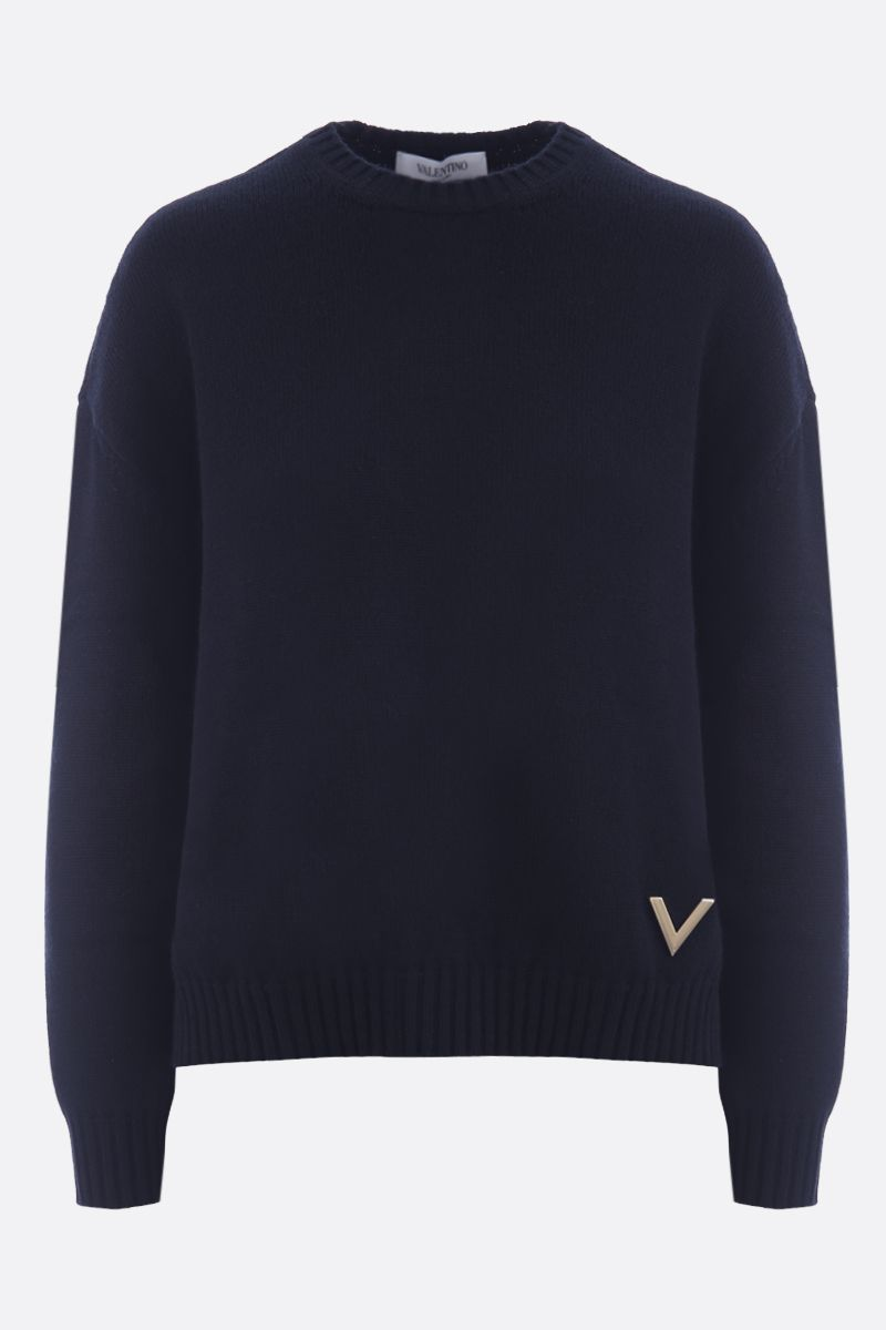 VALENTINO: cashmere pullover with V-Gold detail Color Black_1