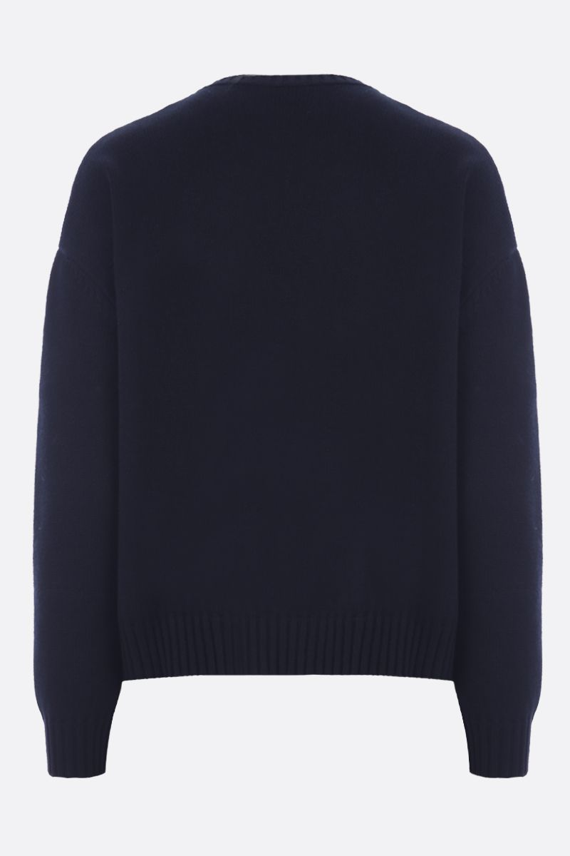 VALENTINO: cashmere pullover with V-Gold detail Color Black_2