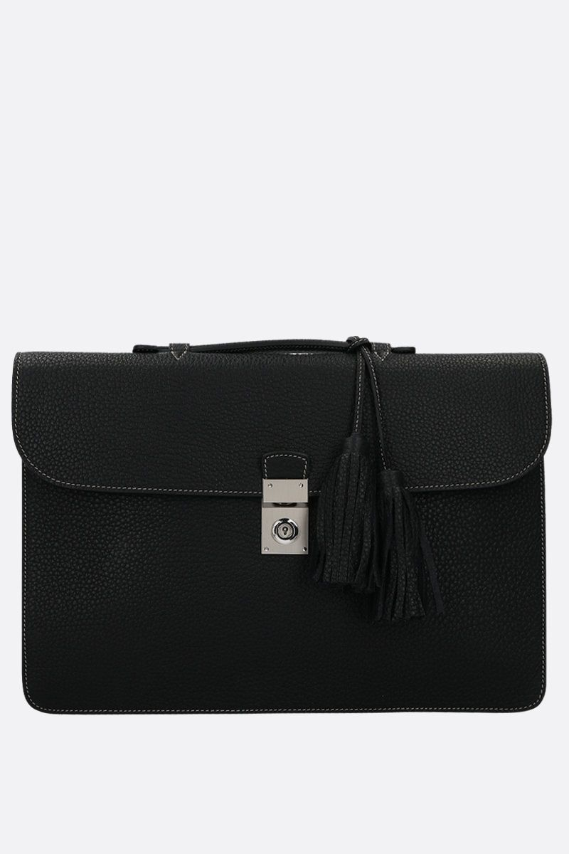 ACATE: Garbin grainy leather briefcase Color Black_1