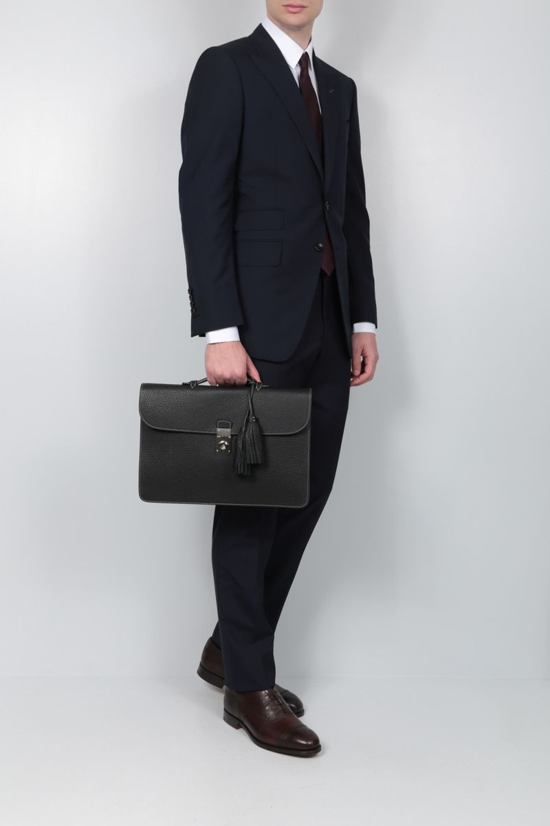 ACATE: Garbin grainy leather briefcase Color Black_2