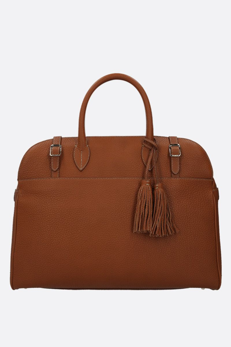 ACATE: Astru grainy leather business bag Color Brown_1