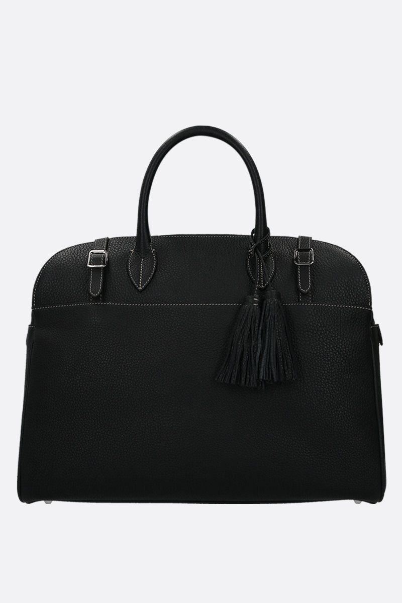 ACATE: Astru grainy leather business bag Color Black_1