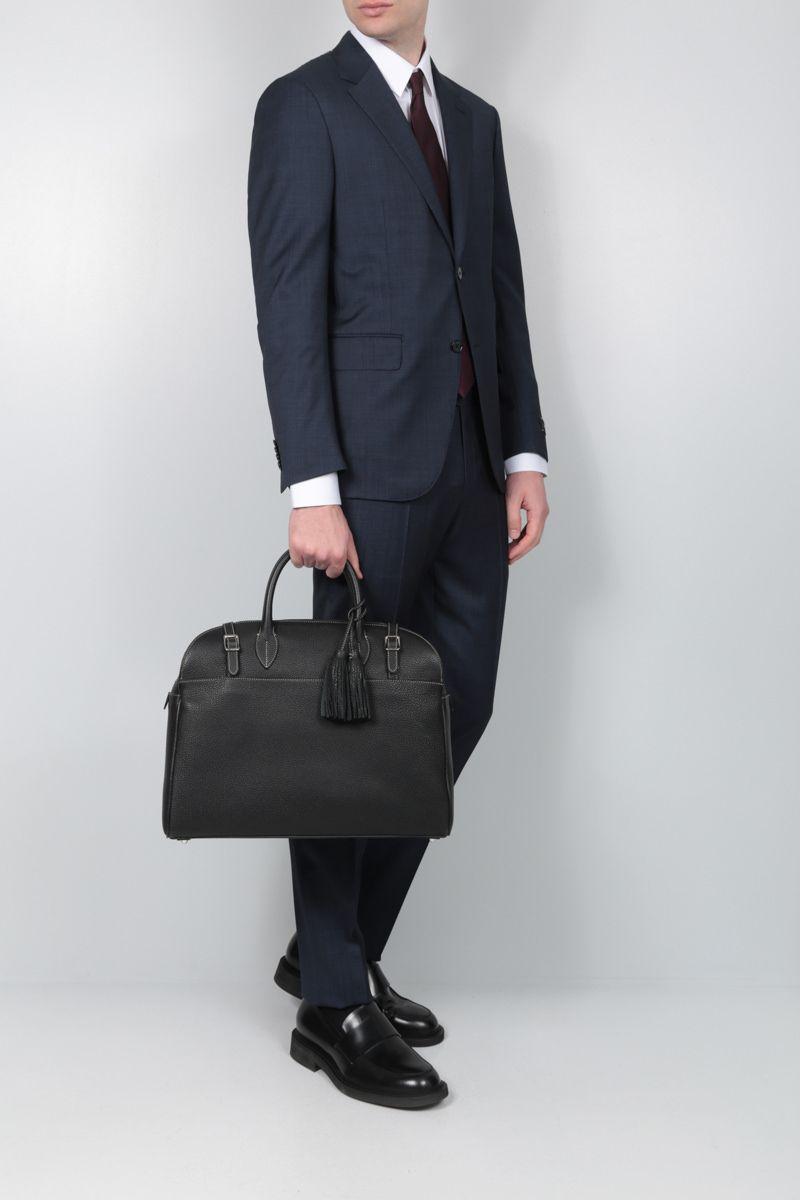 ACATE: Astru grainy leather business bag Color Black_2