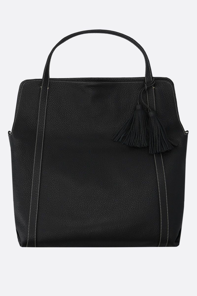 ACATE: Greagale grainy leather tote bag Color Black_1