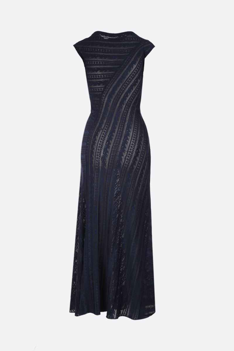 ALAIA: Psyche motif stretch knit long dress Color Blue_2
