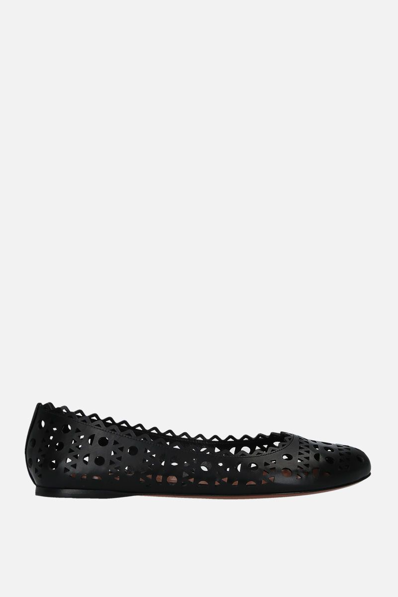 ALAIA: laser-cut leather ballerinas Color Black_1