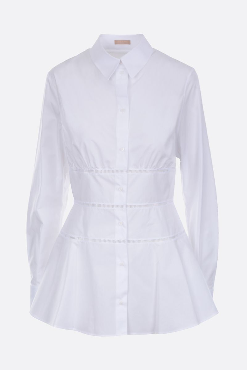 ALAIA: cotton shirt with lace inserts Color White_1