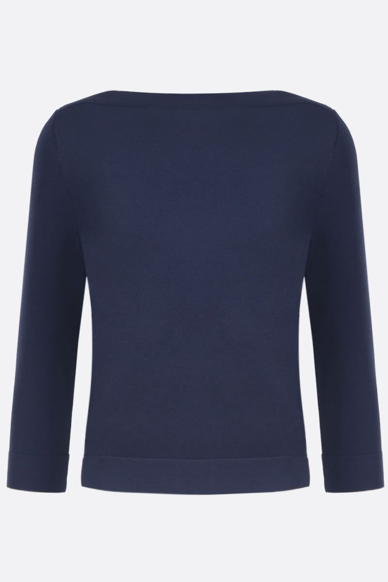 ALAIA: stretch knit crop pullover Color Blue_1