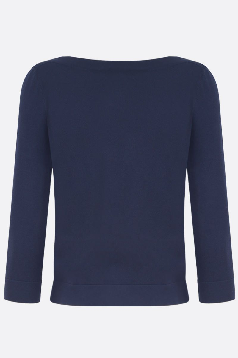 ALAIA: stretch knit crop pullover Color Blue_2