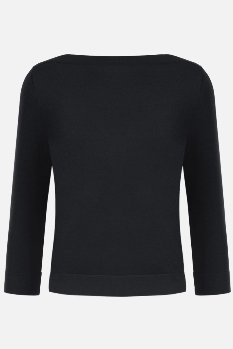 ALAIA: stretch knit crop pullover Color Black_1