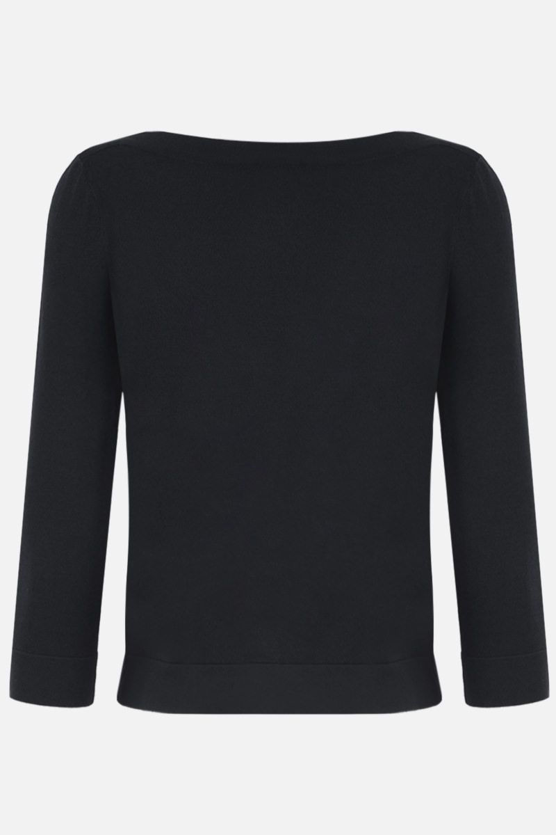 ALAIA: stretch knit crop pullover Color Black_2