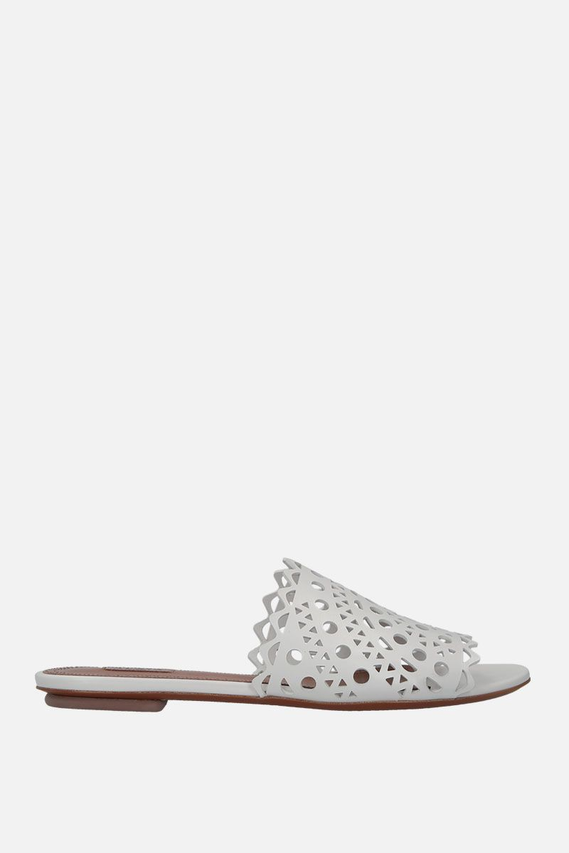 ALAIA: laser-cut leather flat sandals Color White_1