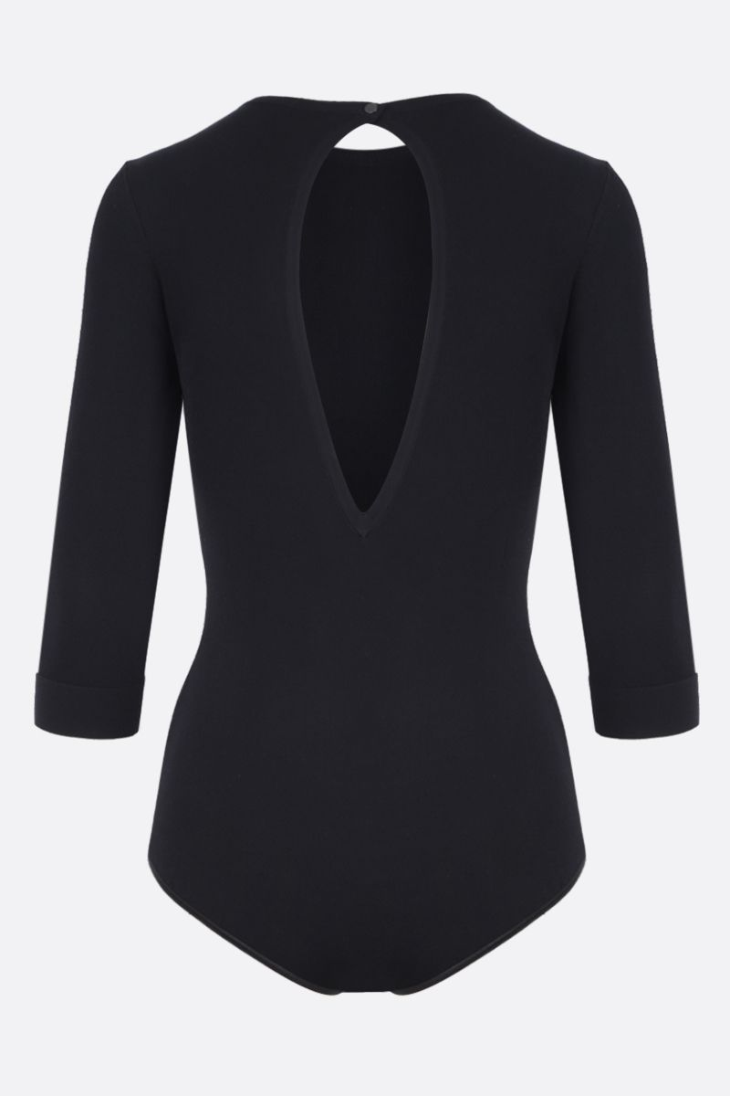 ALAIA: close-fitted stretch knit bodysuit Color Black_3