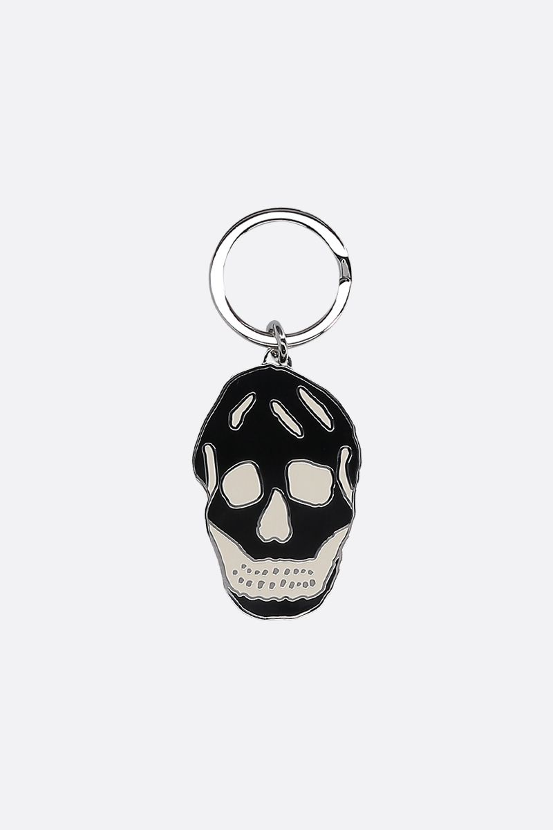 ALEXANDER McQUEEN: Skull key holder in enamelled brass Color Black_1