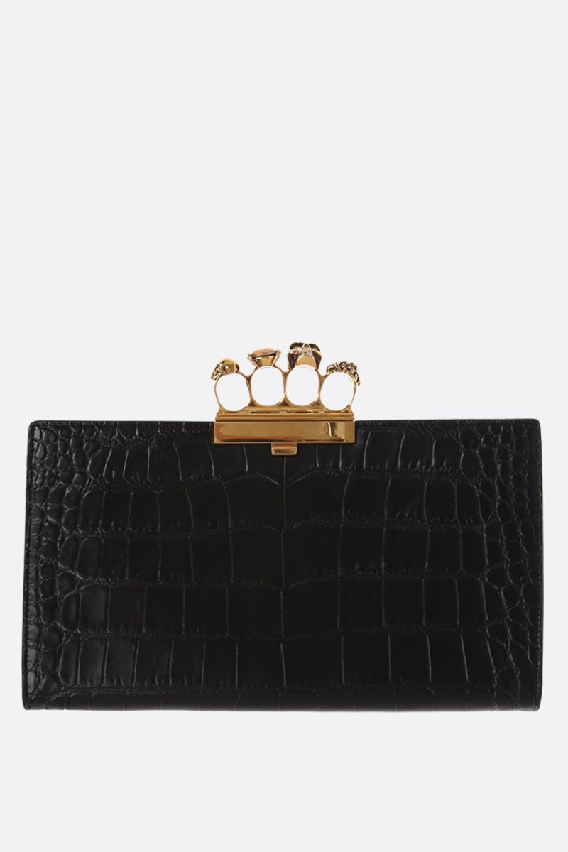 ALEXANDER McQUEEN: Skull four-ring clutch in crocodile embossed leather Color Black_1