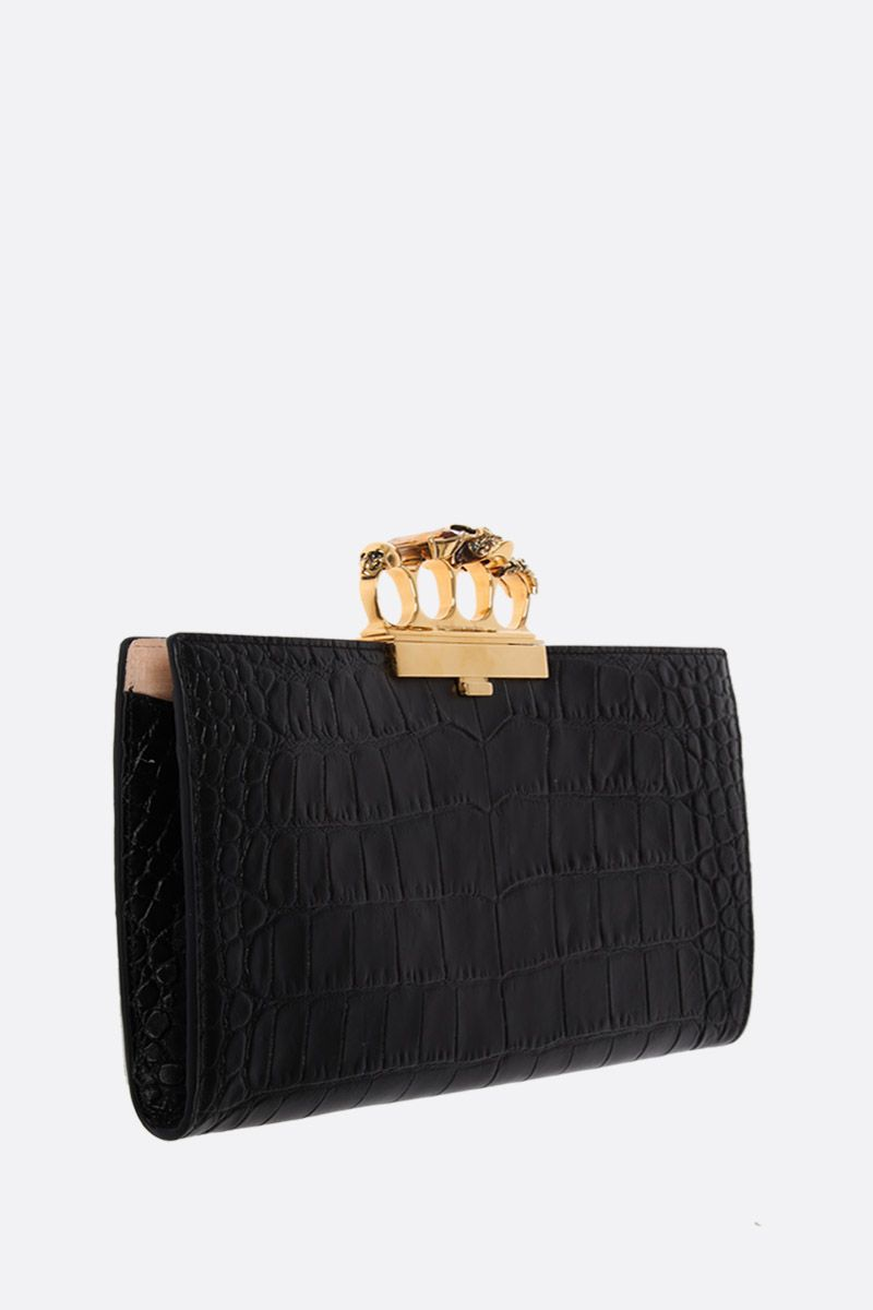 ALEXANDER McQUEEN: Skull four-ring clutch in crocodile embossed leather Color Black_2