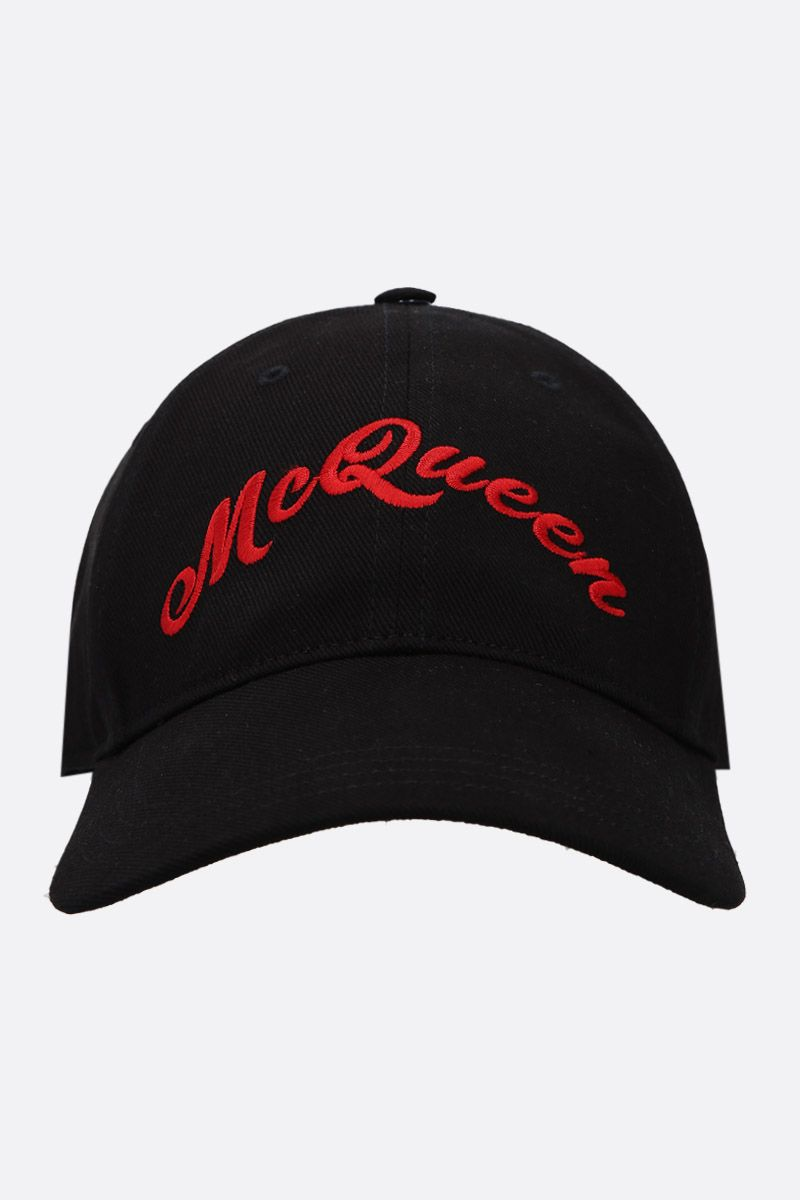 ALEXANDER McQUEEN: McQueen embroidered cotton baseball cap Color Black_1