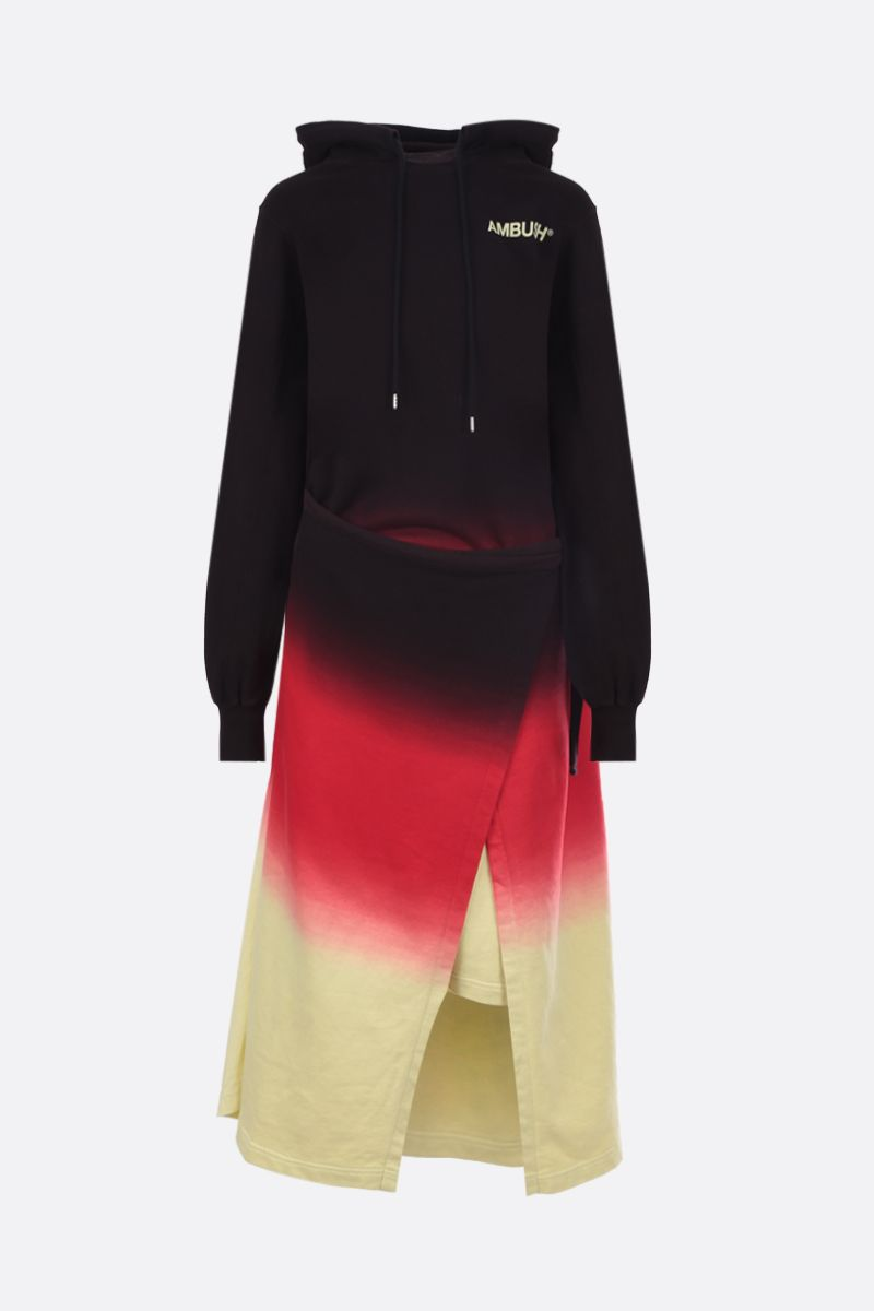 AMBUSH: tie and dye cotton hoodie-dress Color Black_1