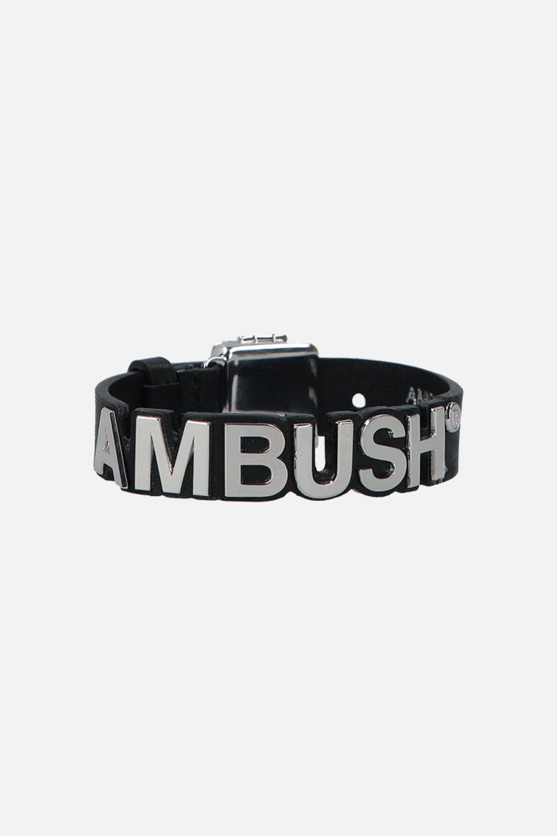 AMBUSH: Nameplate bracelet in smooth leather Color Silver_1