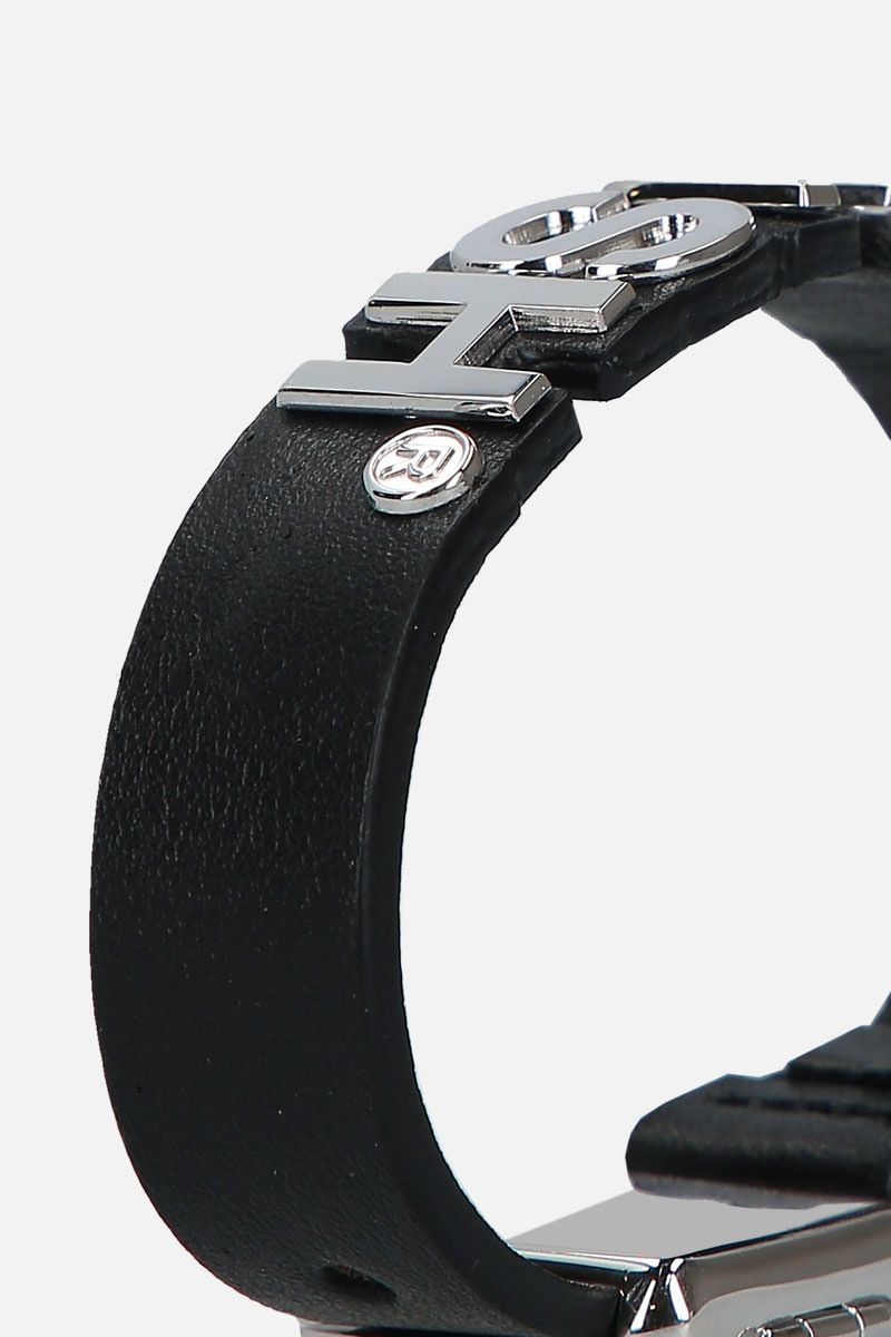 AMBUSH: Nameplate bracelet in smooth leather Color Silver_2