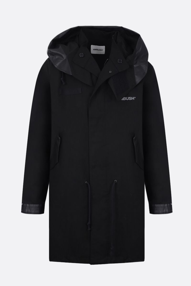 AMBUSH: faux leather-detailed cotton parka coat Color Black_1