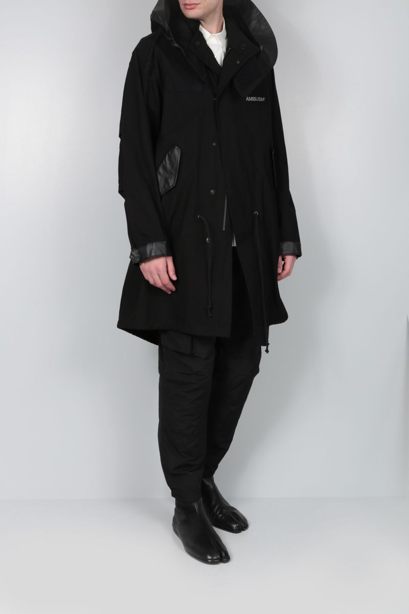 AMBUSH: faux leather-detailed cotton parka coat Color Black_2