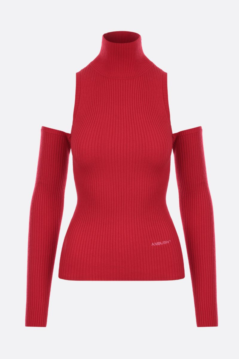 AMBUSH: wool cotton blend off-the-shoulders pullover Color Red_1