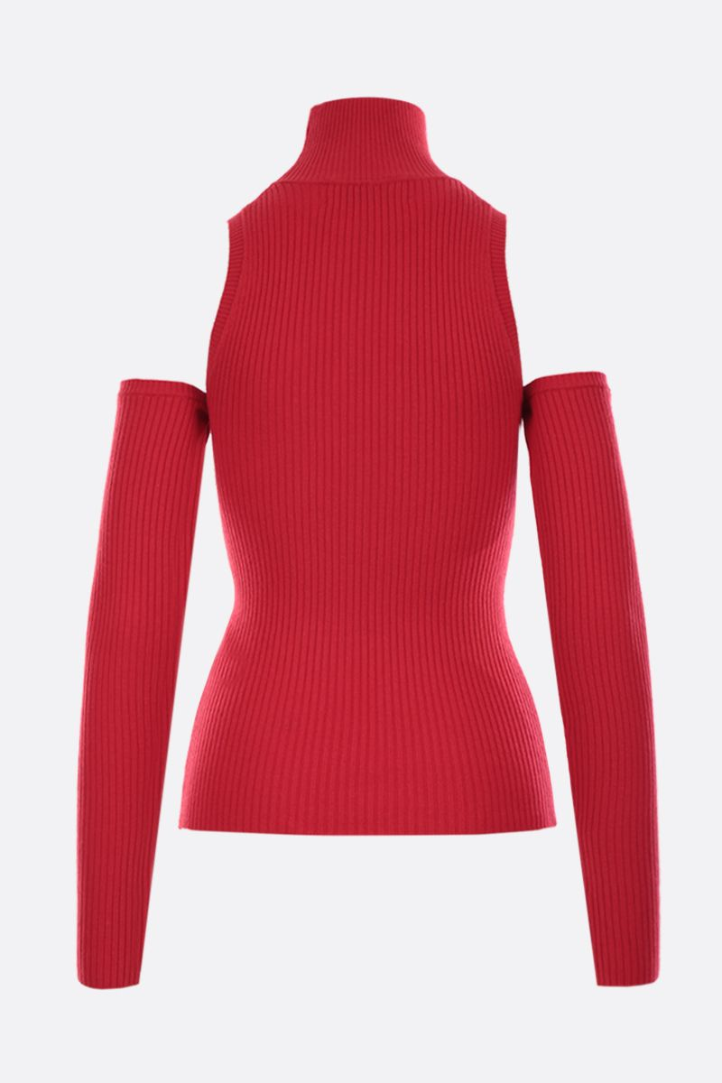 AMBUSH: wool cotton blend off-the-shoulders pullover Color Red_2