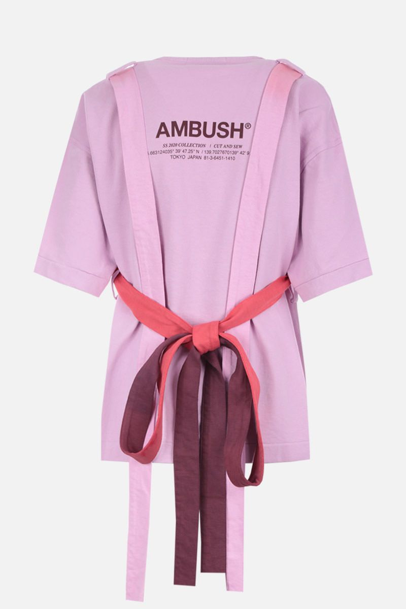 AMBUSH: belt-detailed cotton t-shirt Color Pink_2