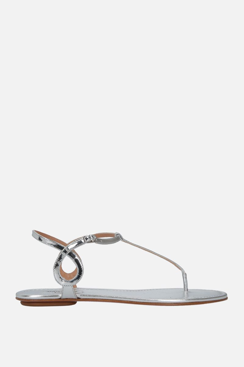AQUAZZURA: Almost Bare mirror-effect leather flat sandals Color Silver_1