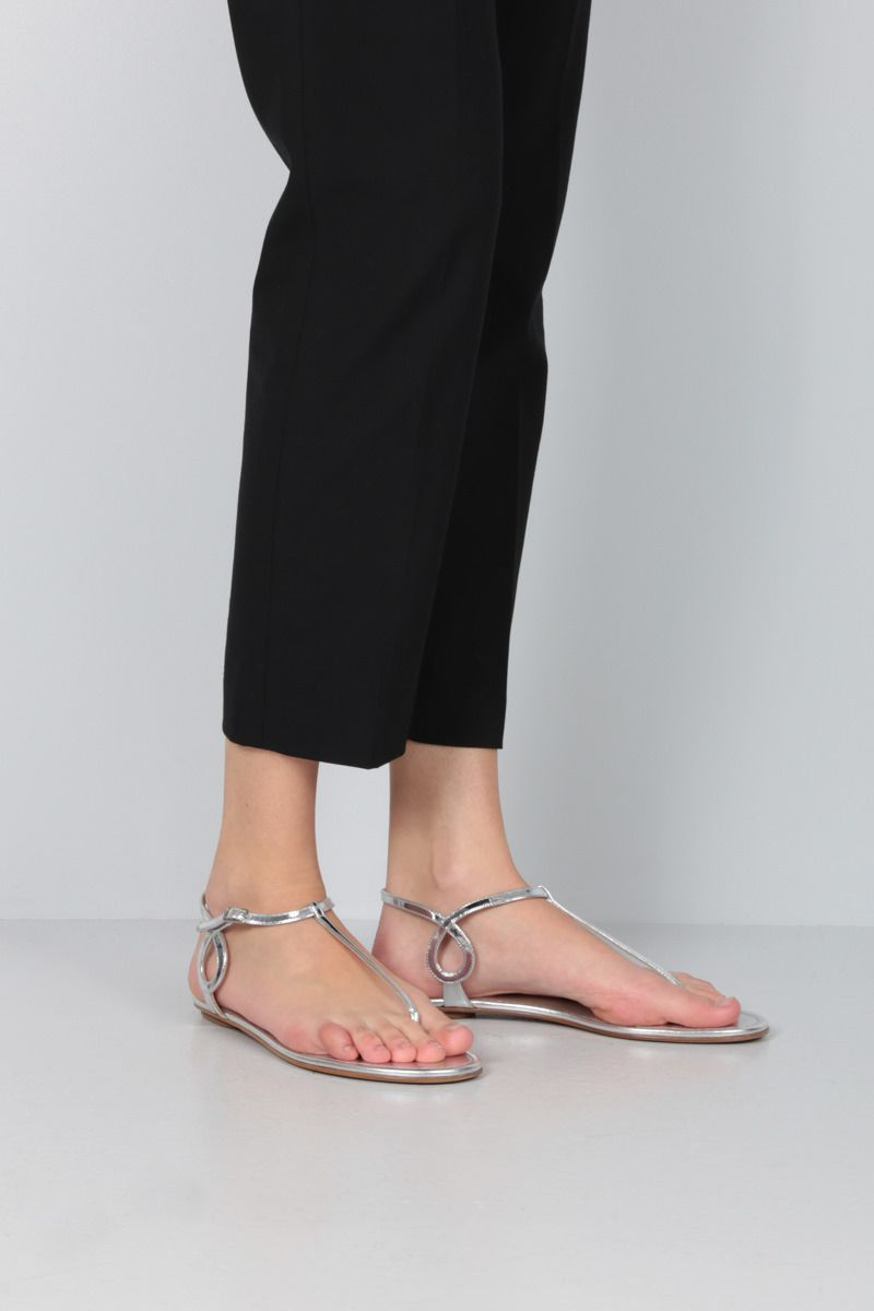 AQUAZZURA: Almost Bare mirror-effect leather flat sandals Color Silver_2