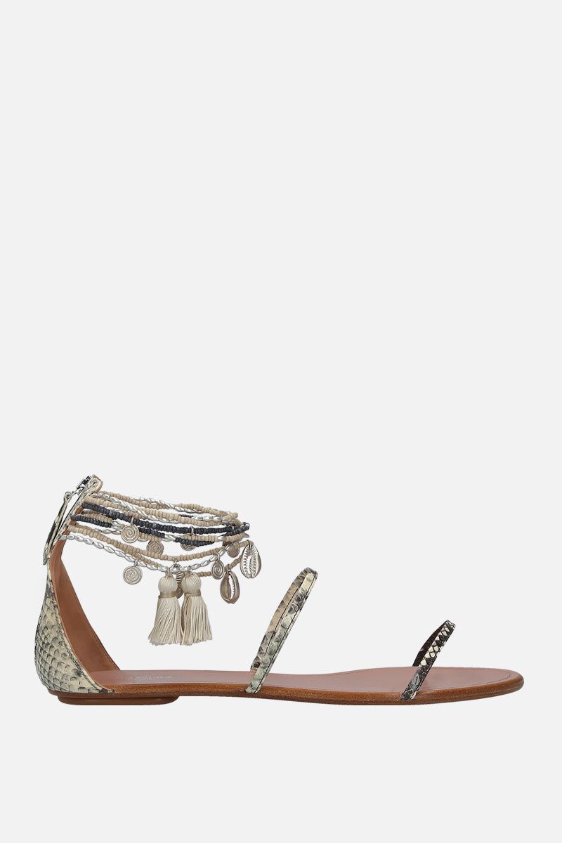 AQUAZZURA: India snakeskin flat snadals Color Grey_1