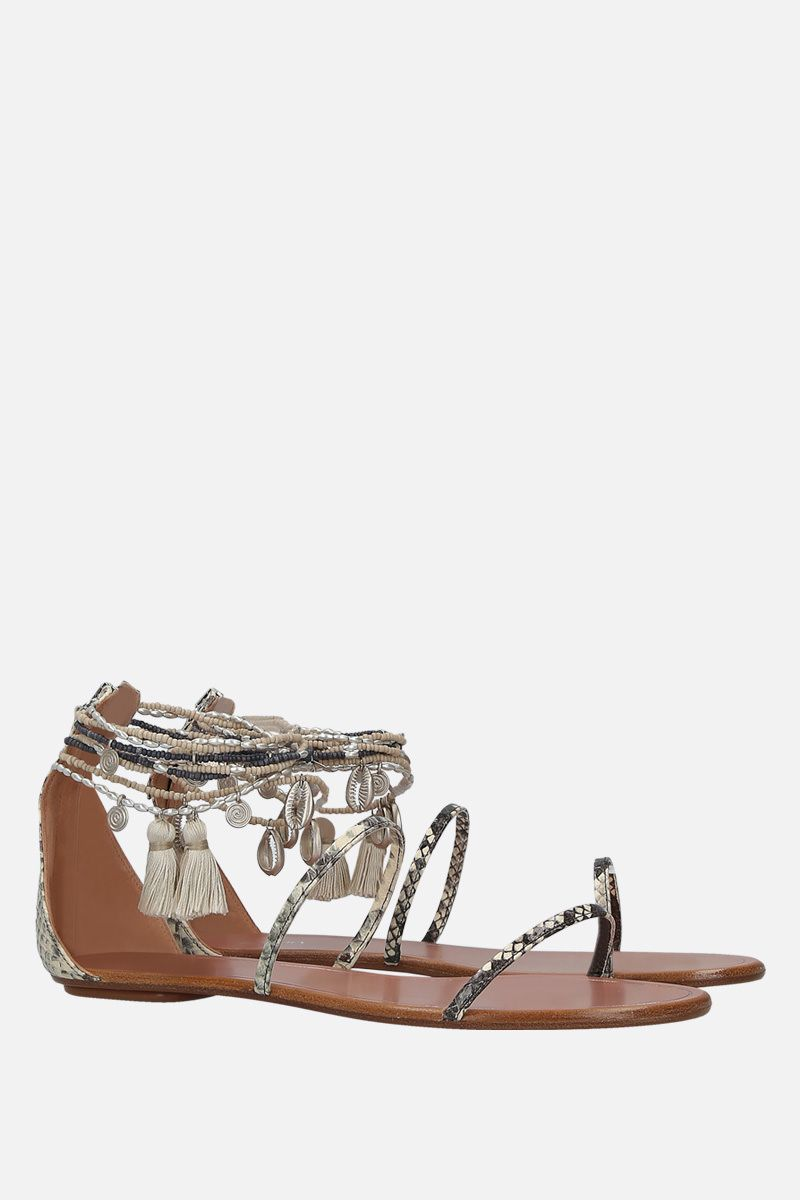 AQUAZZURA: India snakeskin flat snadals Color Grey_2