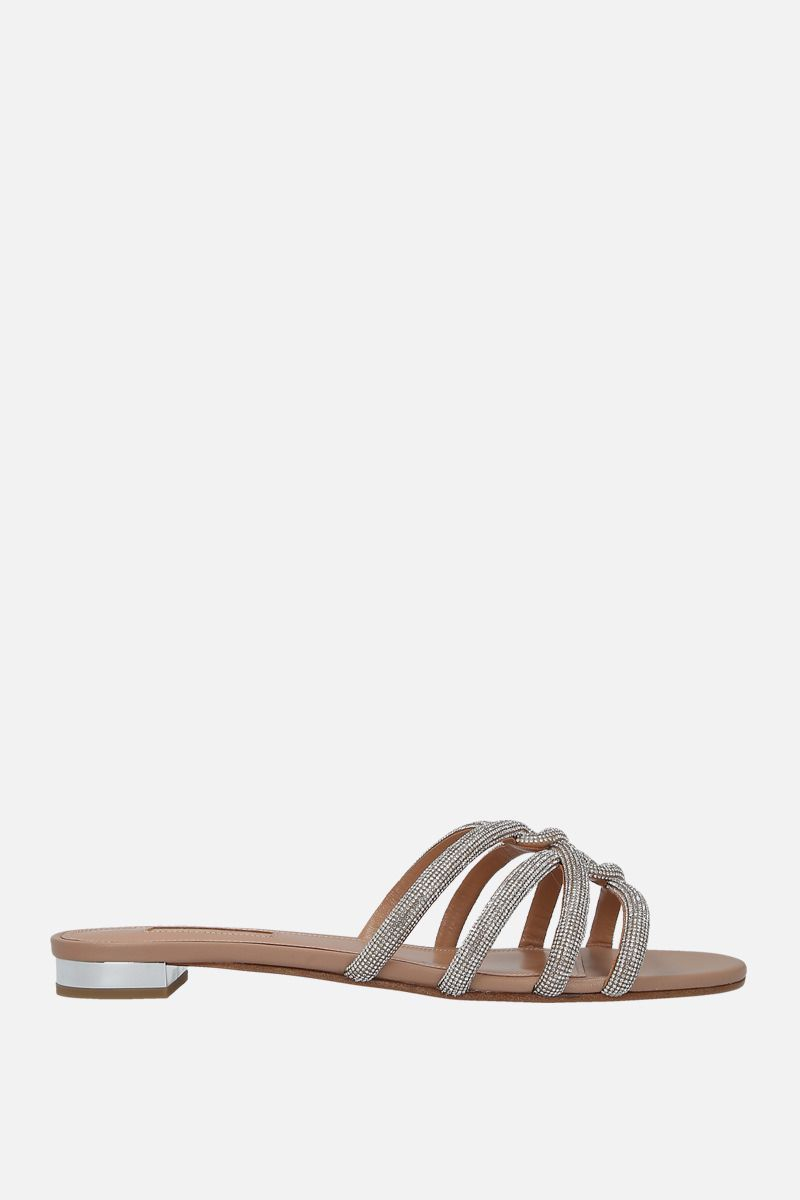 AQUAZZURA: Moondust sandals in crystal-embellished nappa Color Neutral_1