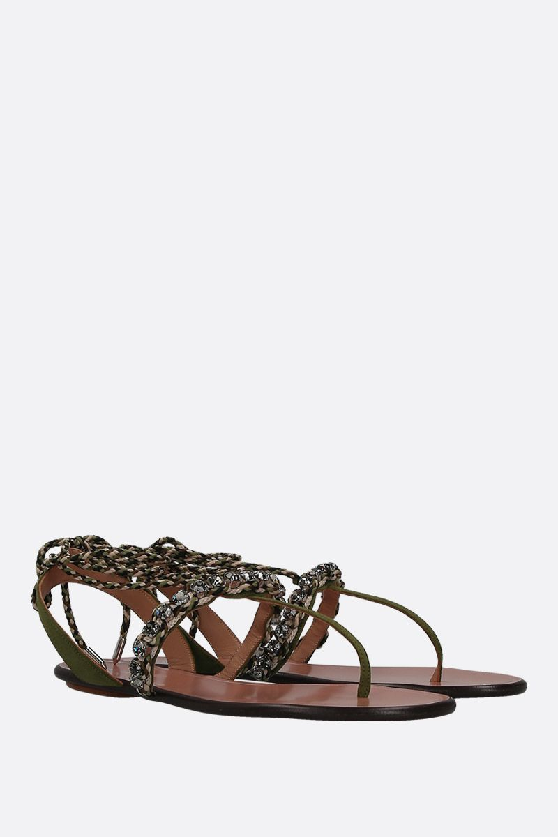 AQUAZZURA: Surf velvet suede thong sandals Color Green_3