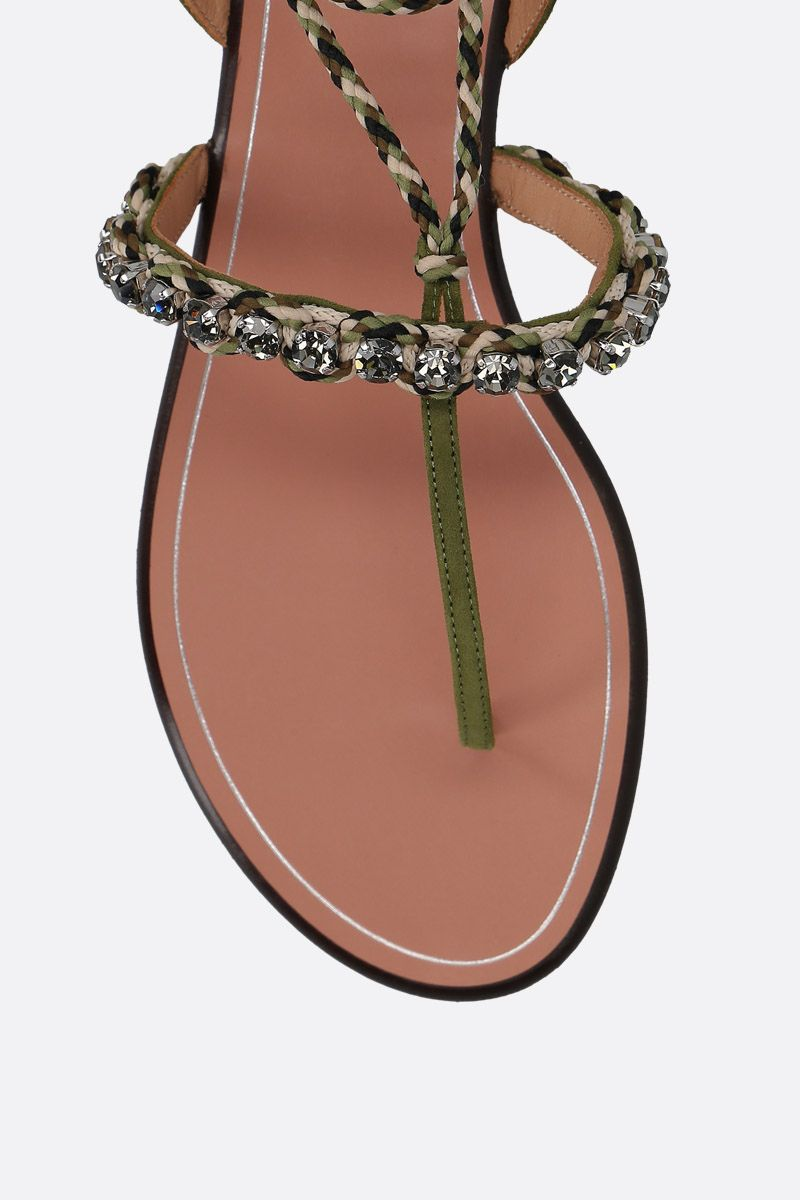 AQUAZZURA: Surf velvet suede thong sandals Color Green_5
