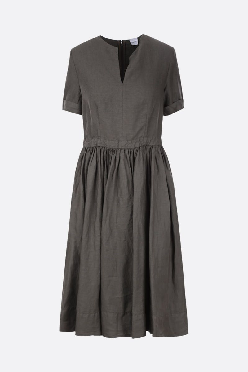 ASPESI: linen midi dress Color Green_1