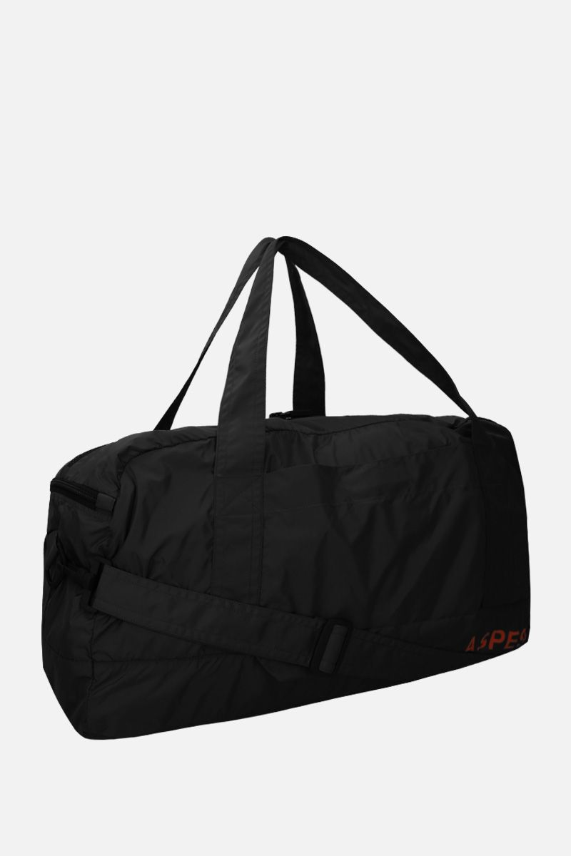 ASPESI: borsa weekend in nylon stampa logo Colore Nero_2