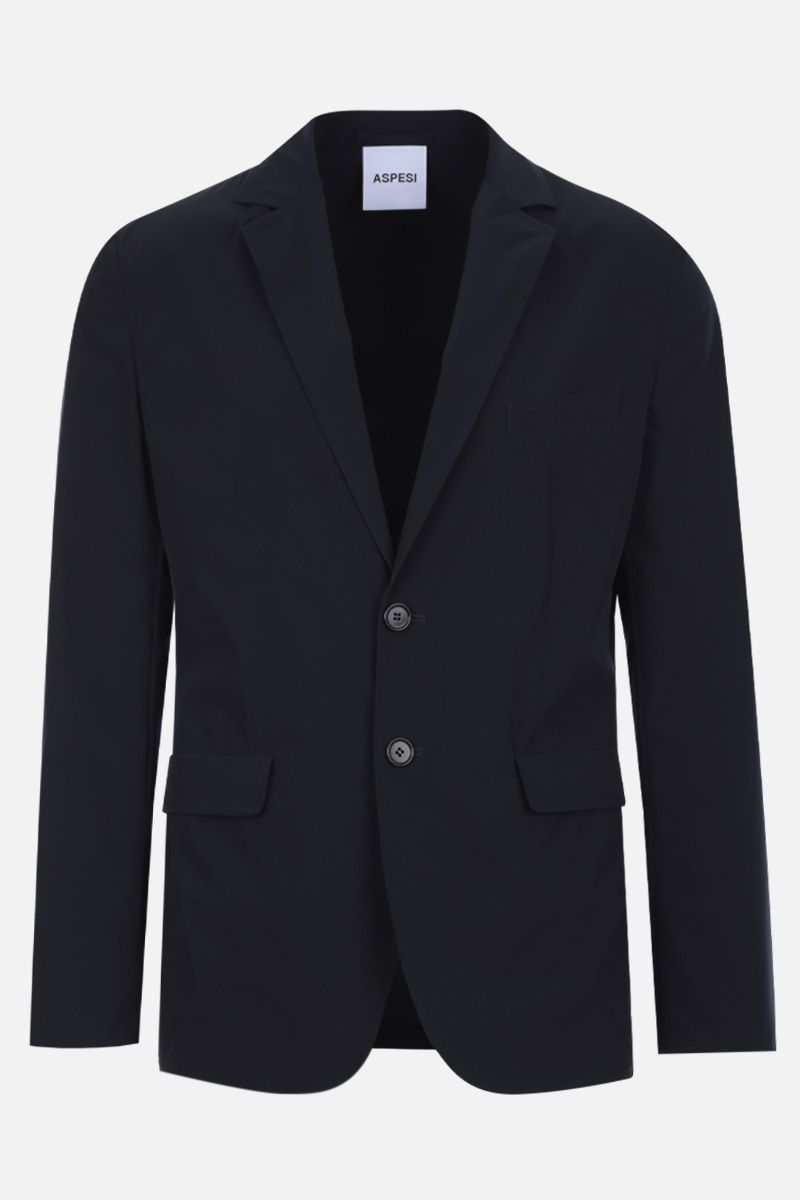 ASPESI: Paperino single-breasted jacket in lightweight nylon Color Blue_1